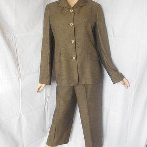 DOLCE GABBANA Golden Green Pant Suit Sz 32/46 CHIC